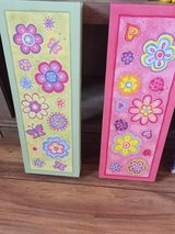2 Canvas Flower/ Butterflies frames 19x7 each for children/ teen rooms in Chicago, Illinois