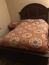 Queen bed frame w/mattress & box spring in Plainfield, Illinois