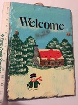 Christmas Welcome Sign on Slate in Plainfield, Illinois