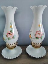 2 VTG White Milk Glass Dresser Vanity Lamp Hand Painted Flowers Hobnail Base VGC in Joliet, Illinois