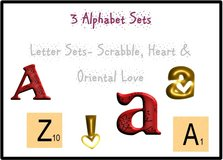 3 Alphabet Sets Includes: Heart, Scrabble & Oriental Love Designs. (108 designs included) in Tacoma, Washington