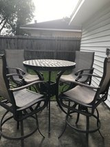 Heavy Wrought Iron Bar Heigth Table & 4 Swivel Chairs in Conroe, Texas