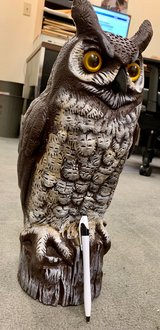 """Owl yard ornament about 16"""" tall in Okinawa, Japan"""