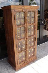 Antique Indian Solid Hand Carved Wood and Iron Clad Armoire in Fort Drum, New York
