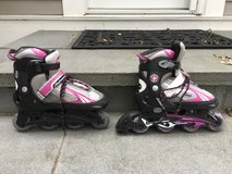 Girls SCHWINN Pink/Gray Roller Blades (Adjustable Size 5-8) in Glendale Heights, Illinois