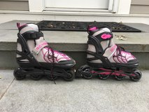 Girls SCHWINN Purple/ Gray Roller Blades (Adjustable Size 5-8) in Glendale Heights, Illinois