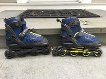Boys SCHWINN Blue/Yellow Roller Blades (Adjustable Size 5-8) in Glendale Heights, Illinois
