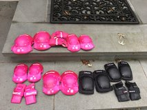 Used Girl Knee/Elbow/Wrist Safety Pads RAZOR brand (Pink, 2 sets) in Westmont, Illinois