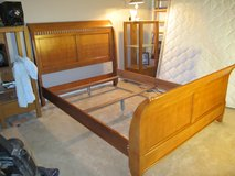 QUEEN SOLID OAK SLEIGH BED FRAME in Cherry Point, North Carolina