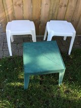 White & Green Patio Side Tables in Oswego, Illinois