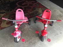 1 Red and 1 Pink Radio Flyer bicycle in Camp Lejeune, North Carolina