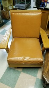 Leather and oak chair in Bartlett, Illinois