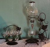 Vintage wrought iron stand with aerator and matching caddy with 6 Roemer glasses in Fort Leonard Wood, Missouri