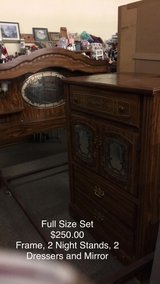 Full Size Bedroom Set- Frame, Two Night Stands 2 Dressers and Mirror in Fort Leonard Wood, Missouri