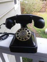 Old fashioned black phone in Wilmington, North Carolina