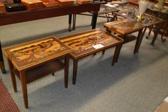 Vintage Carved Wood Coffee Table and 2 End Tables in Fort Lewis, Washington