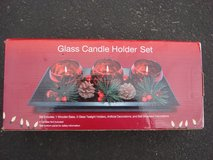 NEW GLASS CANDLE HOLDER SET in Aurora, Illinois