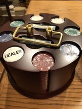 New - Deluxe Revolving Poker Rack with 200 Poker Chips, 2 Decks Cards and Dealer Button in Glendale Heights, Illinois