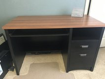 Desk - Black and pale cherry finish, file cabinet, under mounted keyboard tray, lower shelf in Warner Robins, Georgia
