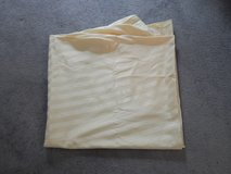 Soft Yellow Satin Stripe Tablecloth-90 inch round in Bolingbrook, Illinois