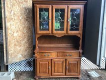 Antique SolidWood Mirror And Glass Cabinet With Lighting in Camp Lejeune, North Carolina