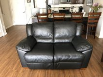 "Black Leather Loveseat 62"" wide in Naperville, Illinois"
