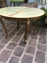 french vintage round coffee table iron + marple top in Ramstein, Germany