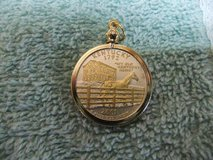 Statehood Quarter Coin Bezel Pendant W/ 18k GP Chain Jewelry - Gold and Silver Necklace Pendant in Cherry Point, North Carolina