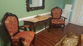 Marble Topped table with matching chairs and mirror in Fort Benning, Georgia