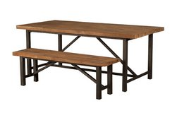 Industrial Teak Table and Bench in Ramstein, Germany