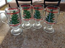 Set of four clear glass mugs with Xmas tree. Made in Germany. Rarely used. in Naperville, Illinois