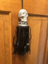 Halloween Tassel - Silver Glitter Skull Top with Black Cord and Ribbon with Clear Beads in Glendale Heights, Illinois