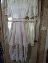 Antique Edwardian White Lace Tiered Cotton Lawn/Wedding Dress with Lace Trimmed Apron *RARE FIND in Orland Park, Illinois