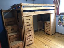 Loft Bunk bed, desk, shelves & stairs in Bolingbrook, Illinois