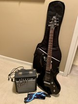 Electric Guitar (Black) includes Fender Frontman 10G Amplifier and Guitar Case in Naperville, Illinois