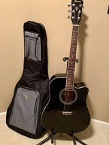 IBENEZ Black Acoustic Guitar with case and stand in Naperville, Illinois