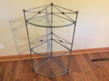 3 shelf glass and brushed nickel corner table in Bolingbrook, Illinois