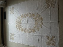 Tan Rectangular Cross Stitch Tablecloth #3-(Handstitched with love) in Bolingbrook, Illinois