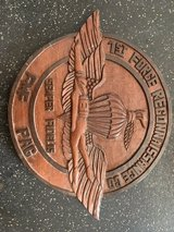 1st force recon round wooden plaque in Okinawa, Japan