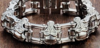 Skull Biker Men's Bracelet for Men Motorcycle Link 316L Stainless Steel Bracelet in Alamogordo, New Mexico