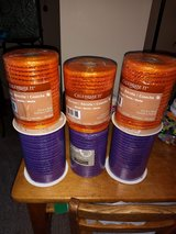 Spools of purple & orange metallic  ribbon in Yorkville, Illinois