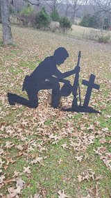 Soldier at the cross in Fort Leonard Wood, Missouri