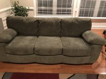 Good Condition- Olive green sofa and matching loveseat in Cherry Point, North Carolina