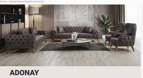 United Furniture - Adonay LR Set in Dark Grey and Cream - 2 x sofa + 2 x chair + delivery in Ramstein, Germany