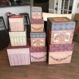 Set of 9 decorative stacking/nesting boxes in Warner Robins, Georgia