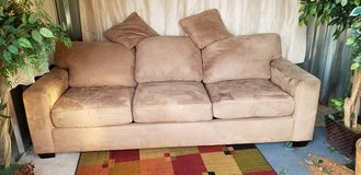 beige micro suede full size sleeper sofa couch in Clarksville, Tennessee