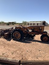 Tractor yard art in Alamogordo, New Mexico