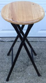 Folding Stool - Metal Base / Wood Seat in Orland Park, Illinois