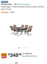 Crestridge 7-Piece Padded Sling Outdoor Dining Set in Putty in Fort Riley, Kansas