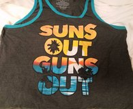 Tank Top XL SUNS OUT GUNS OUT Blue Black Palm Tree Beach Gym Work Out in Kingwood, Texas